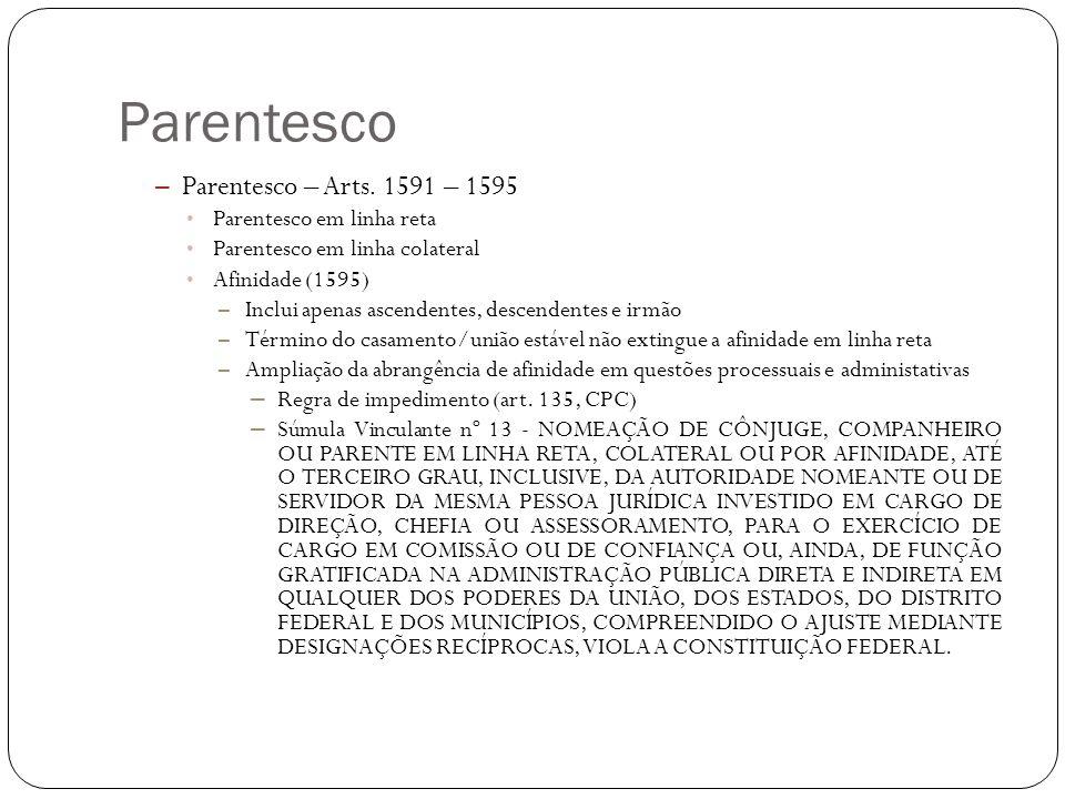 Parentesco – Parentesco – Arts. 1591 – 1595 Parentesco em linha reta Parentesco em linha colateral Afinidade (1595) – Inclui apenas ascendentes, desce