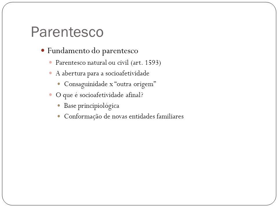 Parentesco Fundamento do parentesco Parentesco natural ou civil (art. 1593) A abertura para a socioafetividade Consaguinidade x outra origem O que é s