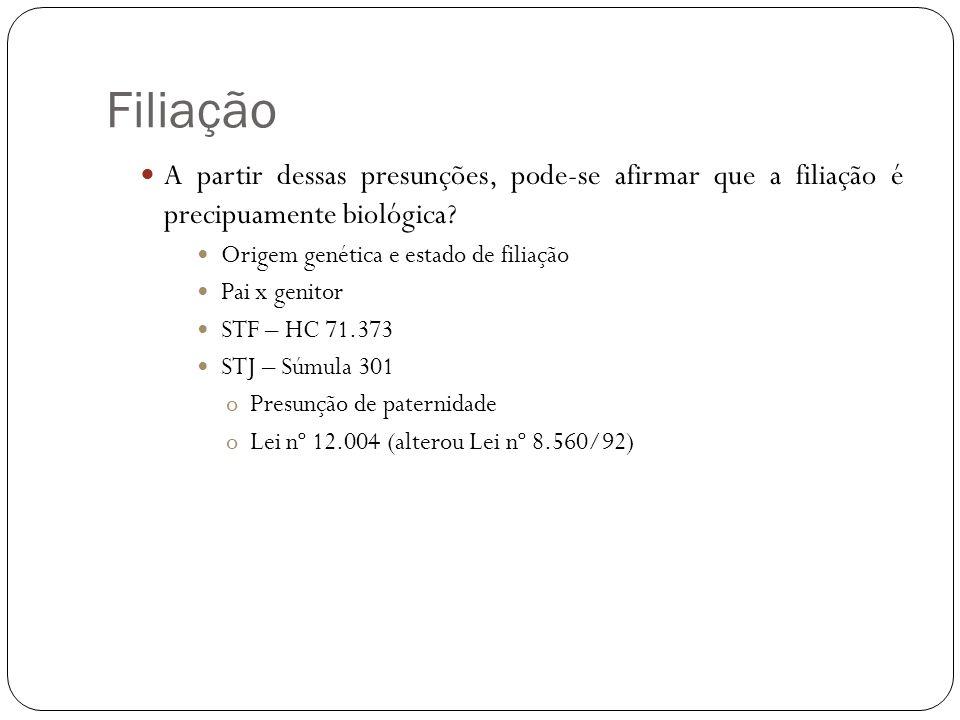 Filiação A partir dessas presunções, pode-se afirmar que a filiação é precipuamente biológica? Origem genética e estado de filiação Pai x genitor STF