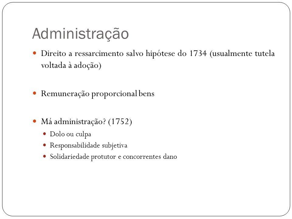 Administração Direito a ressarcimento salvo hipótese do 1734 (usualmente tutela voltada à adoção) Remuneração proporcional bens Má administração? (175