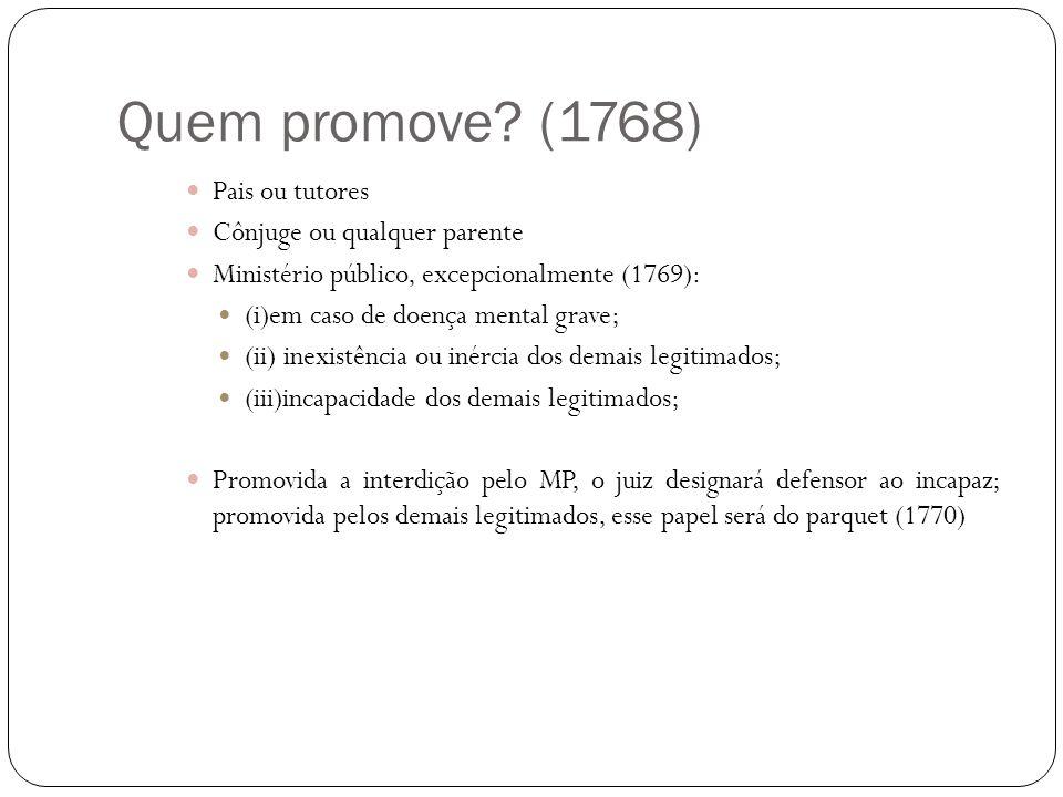 Quem promove? (1768) Pais ou tutores Cônjuge ou qualquer parente Ministério público, excepcionalmente (1769): (i)em caso de doença mental grave; (ii)