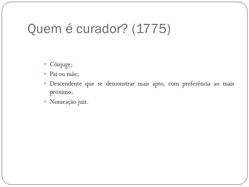 Quem é curador? (1775) Cônjuge; Pai ou mãe; Descendente que se demonstrar mais apto, com preferência ao mais próximo; Nomeação juiz.