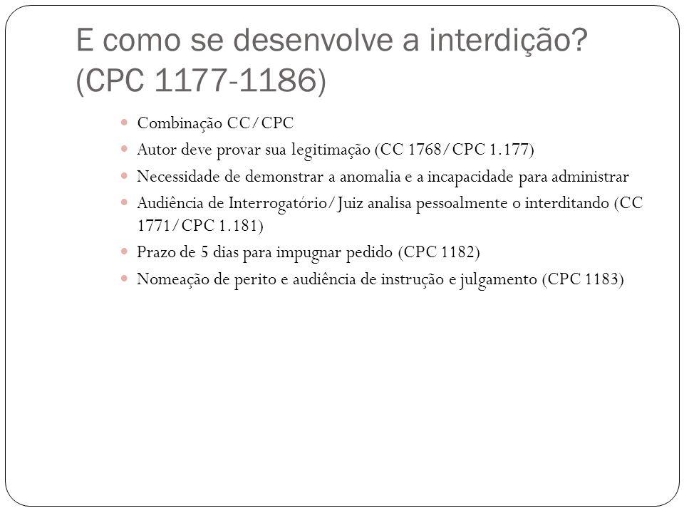 E como se desenvolve a interdição? (CPC 1177-1186) Combinação CC/CPC Autor deve provar sua legitimação (CC 1768/CPC 1.177) Necessidade de demonstrar a