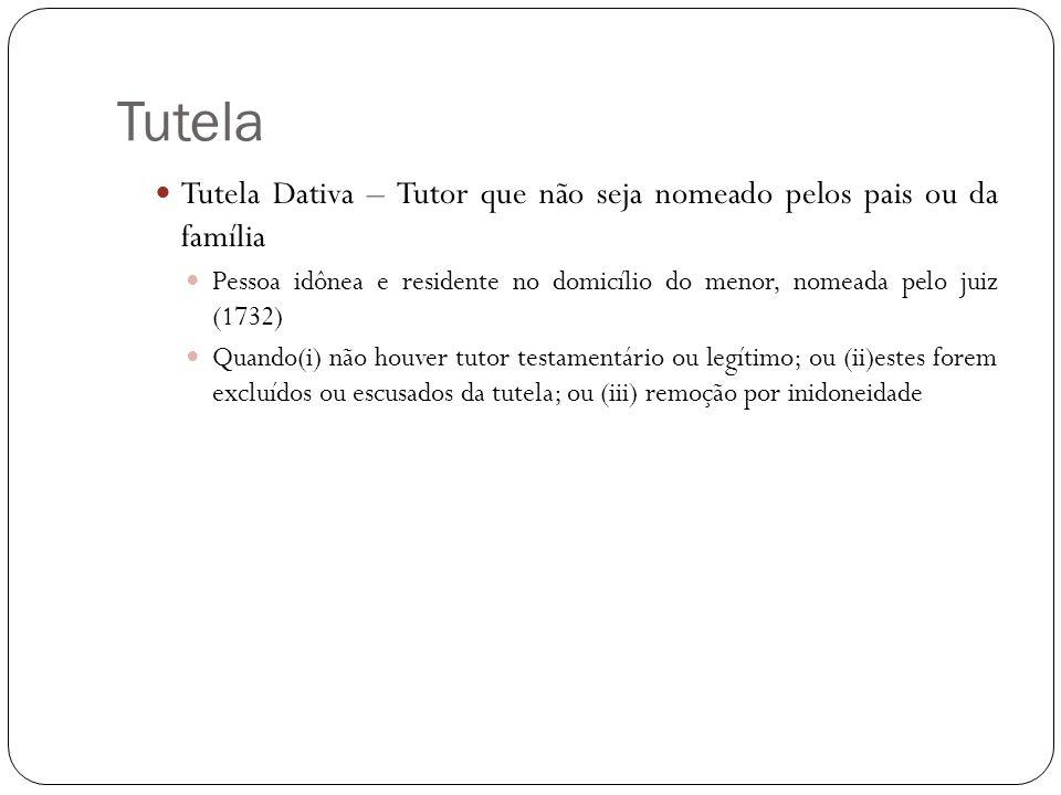 Tutela Tutela Dativa – Tutor que não seja nomeado pelos pais ou da família Pessoa idônea e residente no domicílio do menor, nomeada pelo juiz (1732) Q
