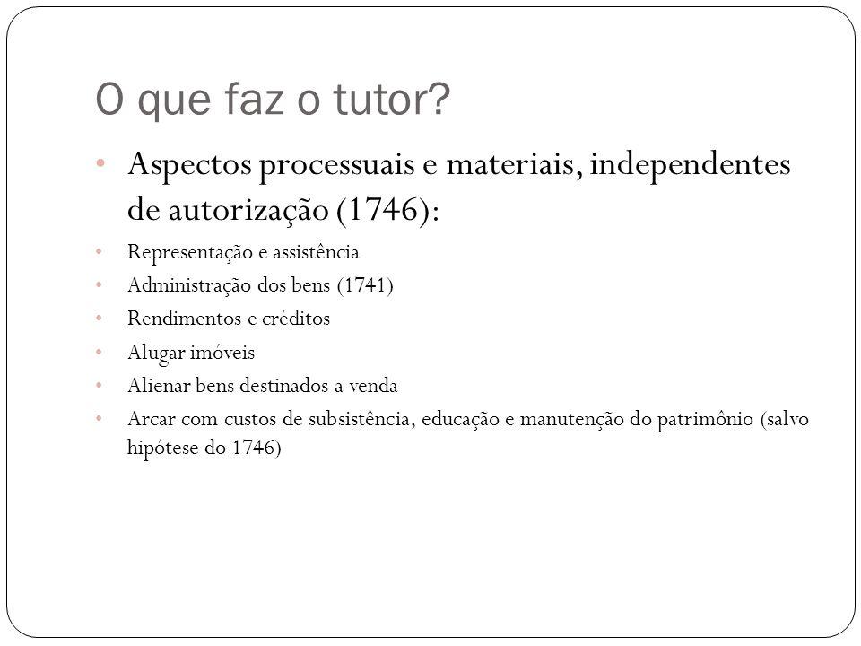 O que faz o tutor? Aspectos processuais e materiais, independentes de autorização (1746): Representação e assistência Administração dos bens (1741) Re