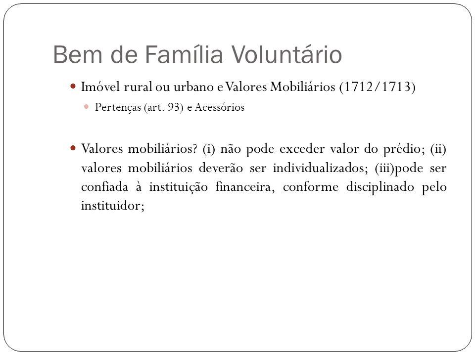 Bem de Família Voluntário Imóvel rural ou urbano e Valores Mobiliários (1712/1713) Pertenças (art. 93) e Acessórios Valores mobiliários? (i) não pode