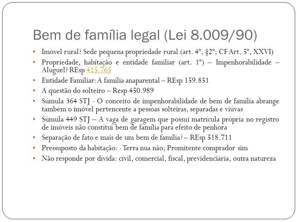 Bem de família legal (Lei 8.009/90) Imóvel rural? Sede pequena propriedade rural (art. 4º, §2º; CF Art. 5º, XXVI) Propriedade, habitação e entidade fa