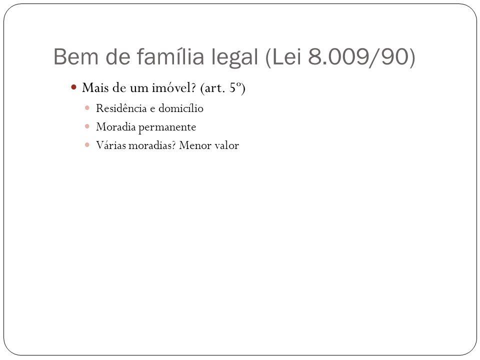 Bem de família legal (Lei 8.009/90) Mais de um imóvel? (art. 5º) Residência e domicílio Moradia permanente Várias moradias? Menor valor