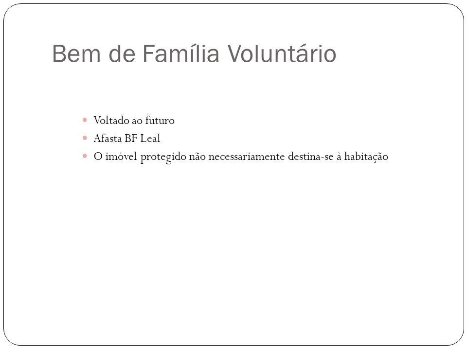 Bem de Família Voluntário Voltado ao futuro Afasta BF Leal O imóvel protegido não necessariamente destina-se à habitação