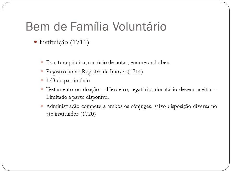 Bem de Família Voluntário Instituição (1711) Escritura pública, cartório de notas, enumerando bens Registro no no Registro de Imóveis(1714) 1/3 do pat