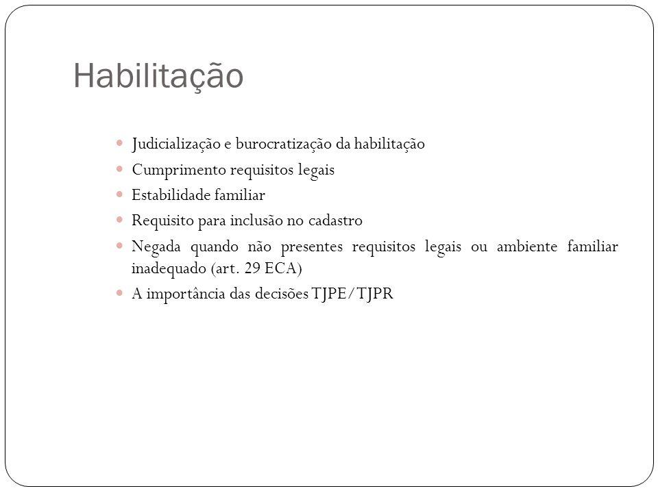 Habilitação Judicialização e burocratização da habilitação Cumprimento requisitos legais Estabilidade familiar Requisito para inclusão no cadastro Neg