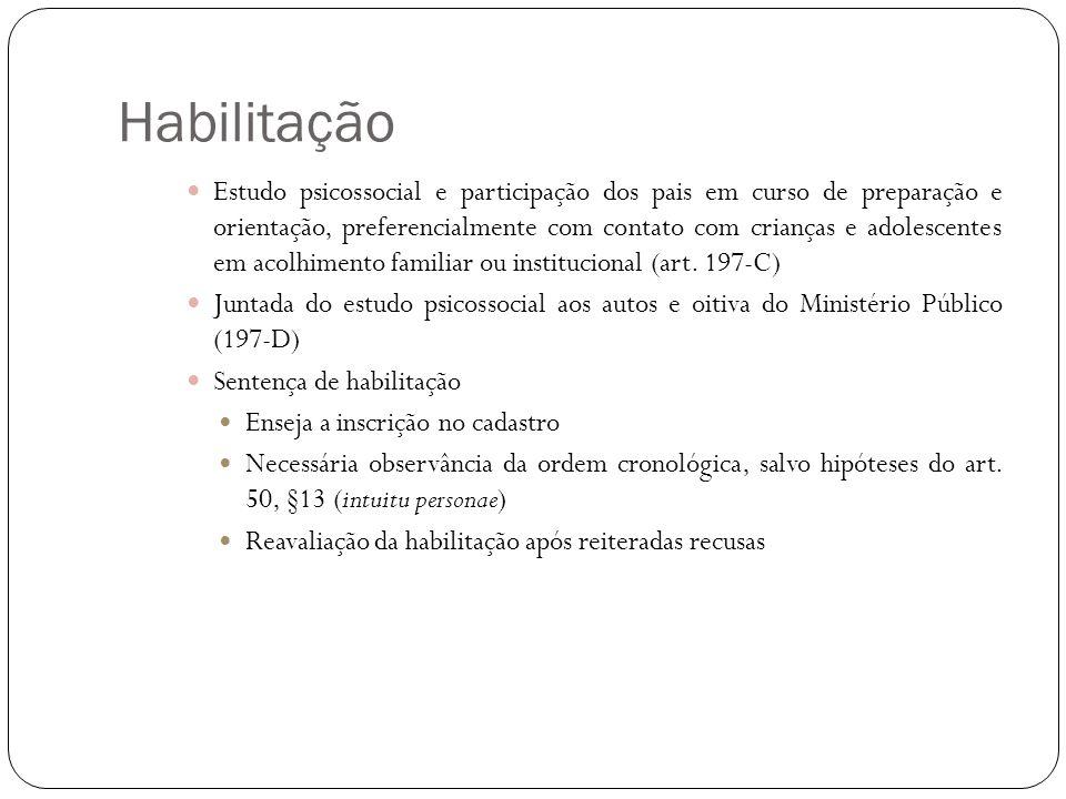 Habilitação Estudo psicossocial e participação dos pais em curso de preparação e orientação, preferencialmente com contato com crianças e adolescentes em acolhimento familiar ou institucional (art.