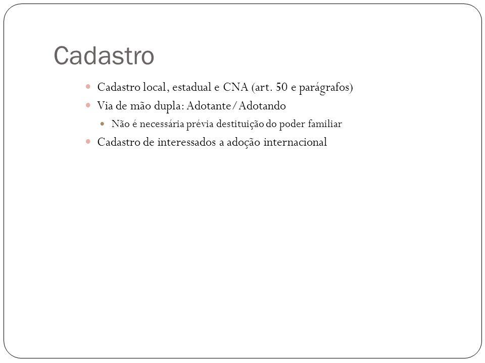 Cadastro Cadastro local, estadual e CNA (art.