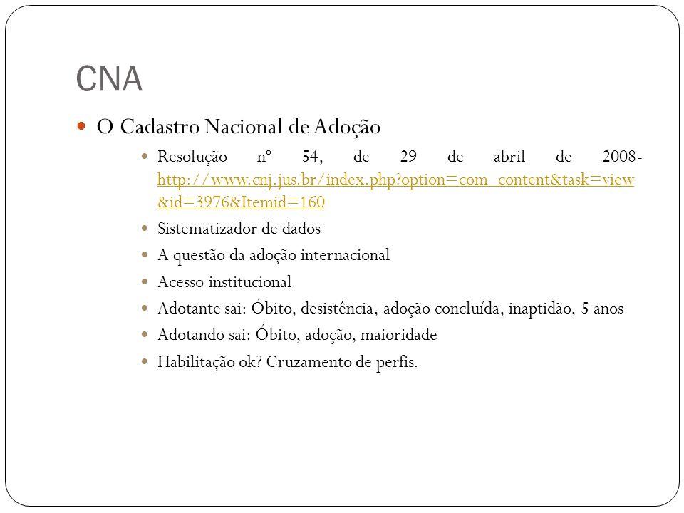 CNA O Cadastro Nacional de Adoção Resolução nº 54, de 29 de abril de 2008- http://www.cnj.jus.br/index.php?option=com_content&task=view &id=3976&Itemi