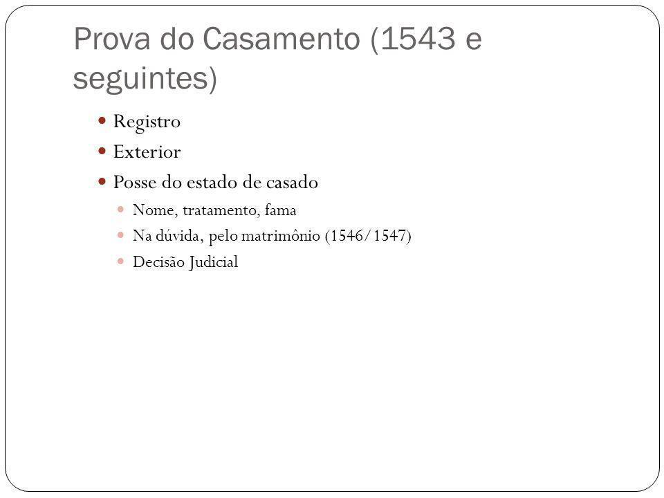 Prova do Casamento (1543 e seguintes) Registro Exterior Posse do estado de casado Nome, tratamento, fama Na dúvida, pelo matrimônio (1546/1547) Decisã