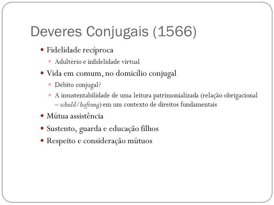 Deveres Conjugais (1566) Fidelidade recíproca Adultério e infidelidade virtual Vida em comum, no domicílio conjugal Débito conjugal? A insustentabilid