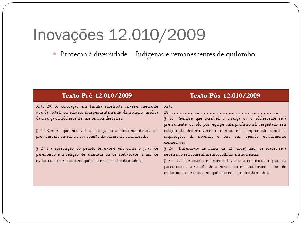 Inovações 12.010/2009 Proteção à diversidade – Indígenas e remanescentes de quilombo Texto Pré-12.010/2009Texto Pós-12.010/2009 Art. 28. A colocação e