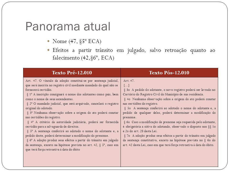 Inovações 12.010/2009 Guarda e direito de visita dos pais Texto Pré-12.010Texto Pós-12.010 Art.