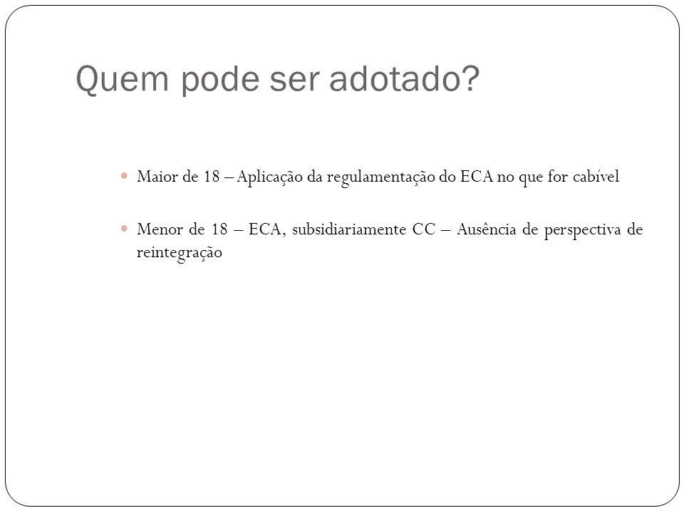 Quem pode ser adotado? Maior de 18 – Aplicação da regulamentação do ECA no que for cabível Menor de 18 – ECA, subsidiariamente CC – Ausência de perspe