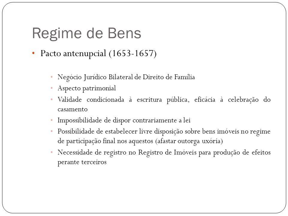 Regime de Bens Pacto antenupcial (1653-1657) Negócio Jurídico Bilateral de Direito de Família Aspecto patrimonial Validade condicionada à escritura pú