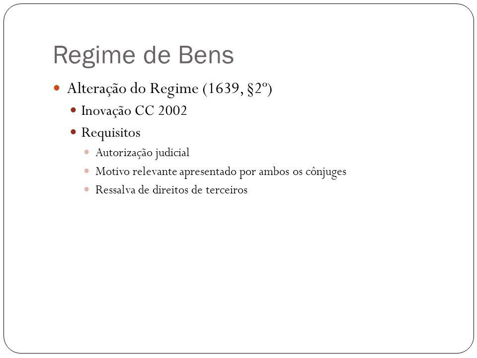 Regime de Bens Alteração do Regime (1639, §2º) Inovação CC 2002 Requisitos Autorização judicial Motivo relevante apresentado por ambos os cônjuges Res