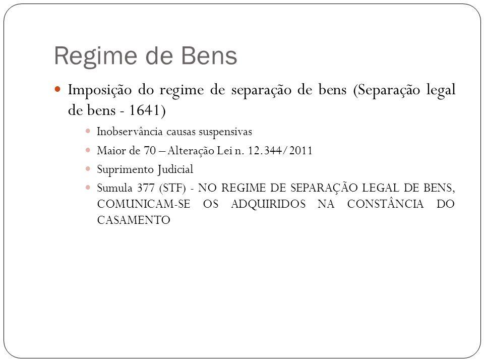 Regime de Bens Imposição do regime de separação de bens (Separação legal de bens - 1641) Inobservância causas suspensivas Maior de 70 – Alteração Lei