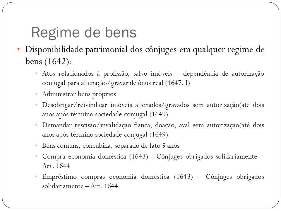 Regime de bens Disponibilidade patrimonial dos cônjuges em qualquer regime de bens (1642): Atos relacionados à profissão, salvo imóveis – dependência