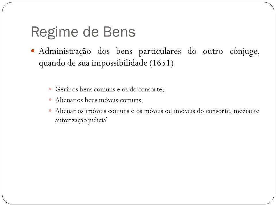 Regime de Bens Administração dos bens particulares do outro cônjuge, quando de sua impossibilidade (1651) Gerir os bens comuns e os do consorte; Alien