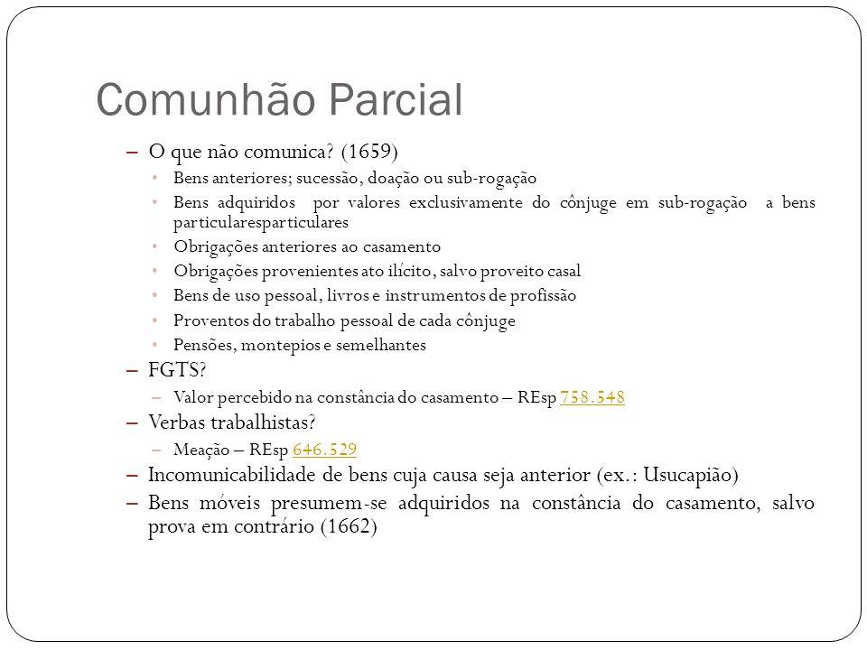 Comunhão Parcial – O que não comunica? (1659) Bens anteriores; sucessão, doação ou sub-rogação Bens adquiridos por valores exclusivamente do cônjuge e