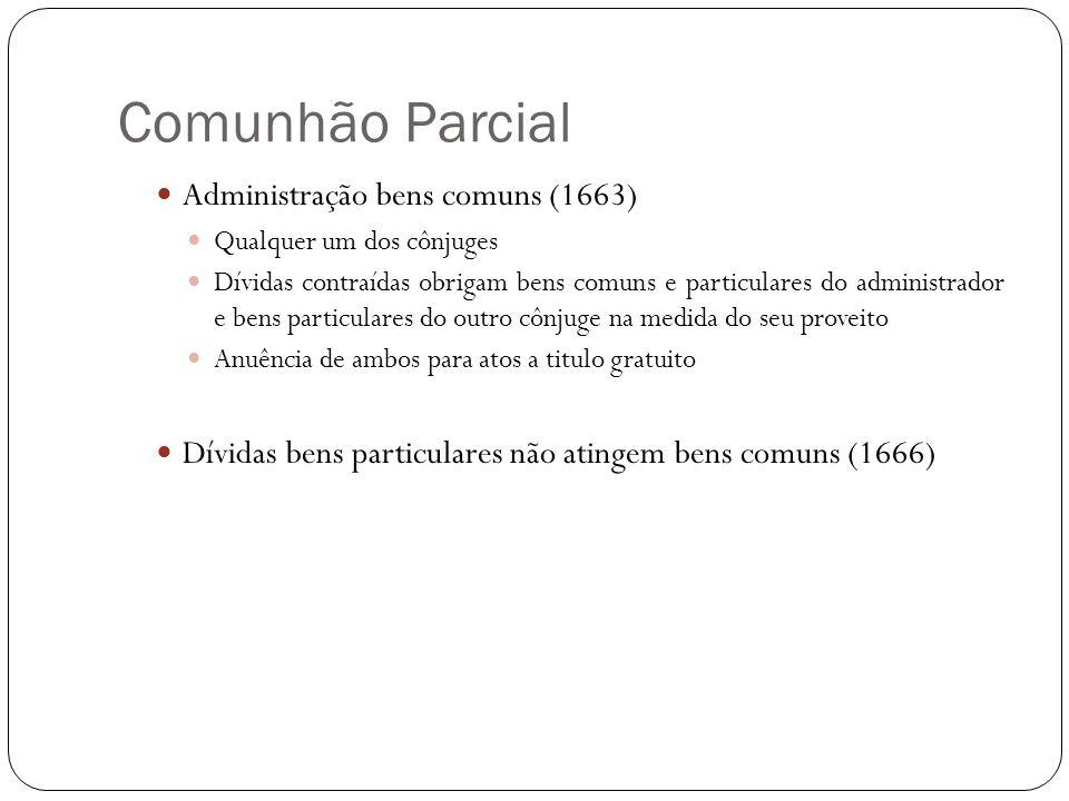 Comunhão Parcial Administração bens comuns (1663) Qualquer um dos cônjuges Dívidas contraídas obrigam bens comuns e particulares do administrador e be