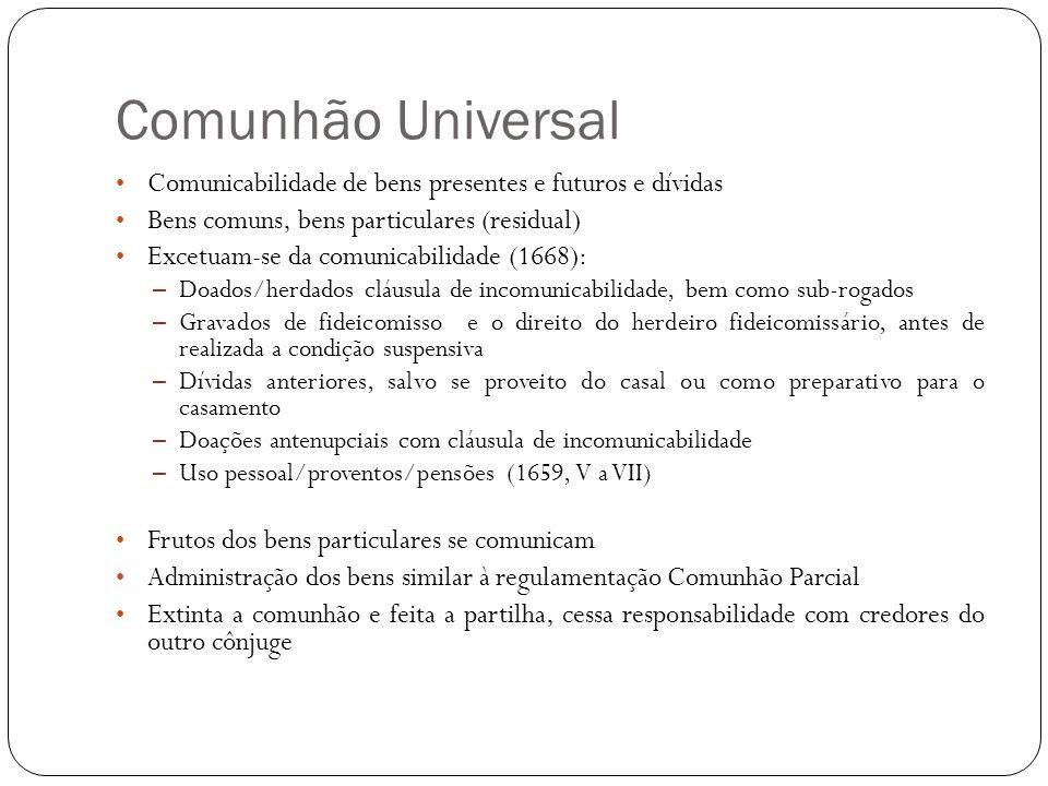 Comunhão Universal Comunicabilidade de bens presentes e futuros e dívidas Bens comuns, bens particulares (residual) Excetuam-se da comunicabilidade (1