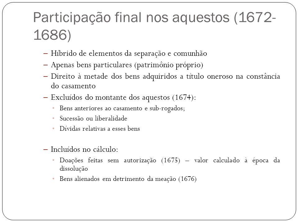 Participação final nos aquestos (1672- 1686) – Híbrido de elementos da separação e comunhão – Apenas bens particulares (patrimônio próprio) – Direito