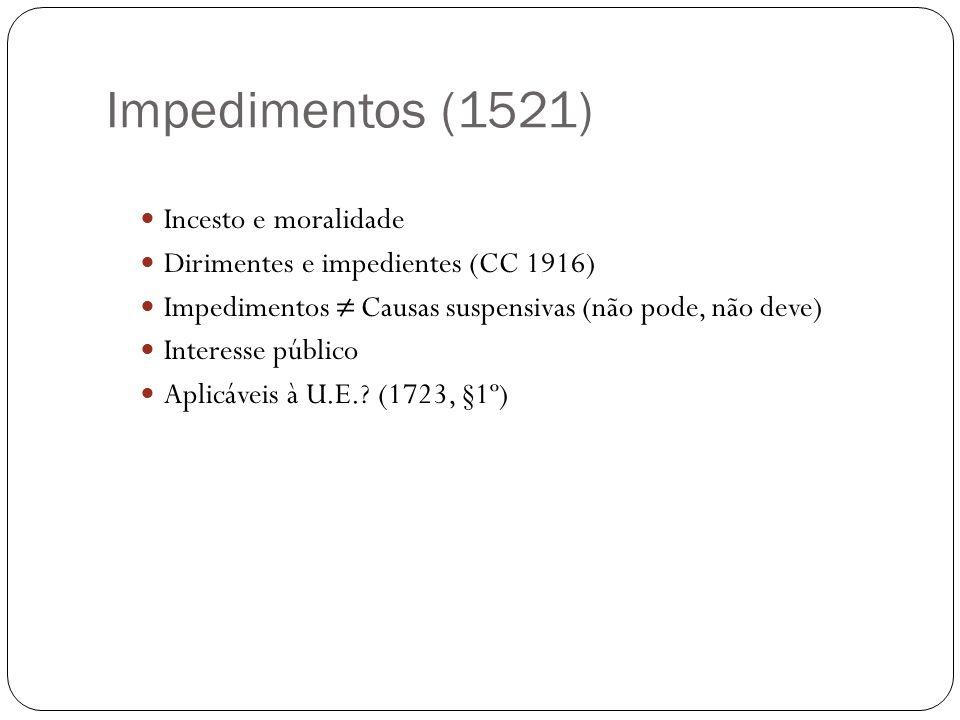 Impedimentos (1521) Incesto e moralidade Dirimentes e impedientes (CC 1916) Impedimentos Causas suspensivas (não pode, não deve) Interesse público Apl