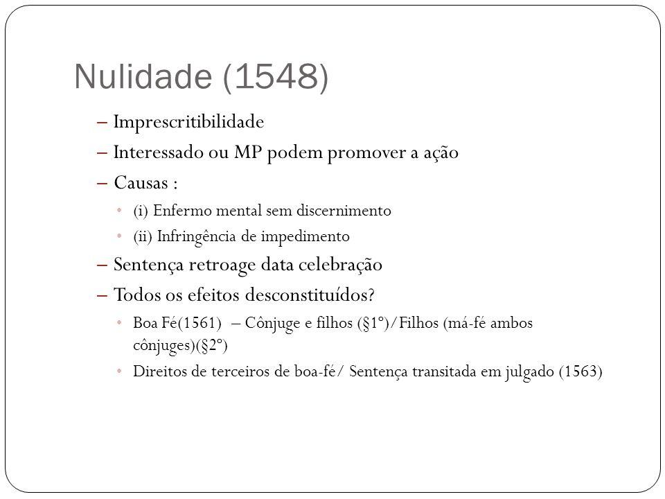 Nulidade (1548) – Imprescritibilidade – Interessado ou MP podem promover a ação – Causas : (i) Enfermo mental sem discernimento (ii) Infringência de i