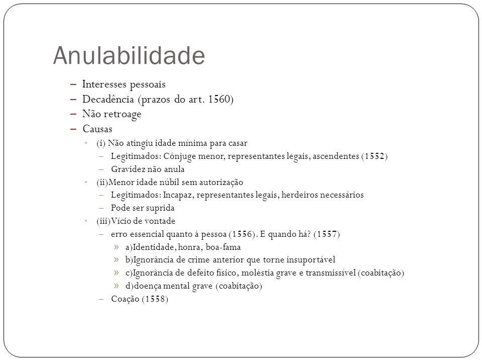Anulabilidade (iv) Incapaz de consentir (1550, IV) (v) Mandatário, revogação ou invalidade do mandato, não coabitação (1550, V) (vi) Incompetência autoridade celebrante (1550, VI - exceção do 1554)