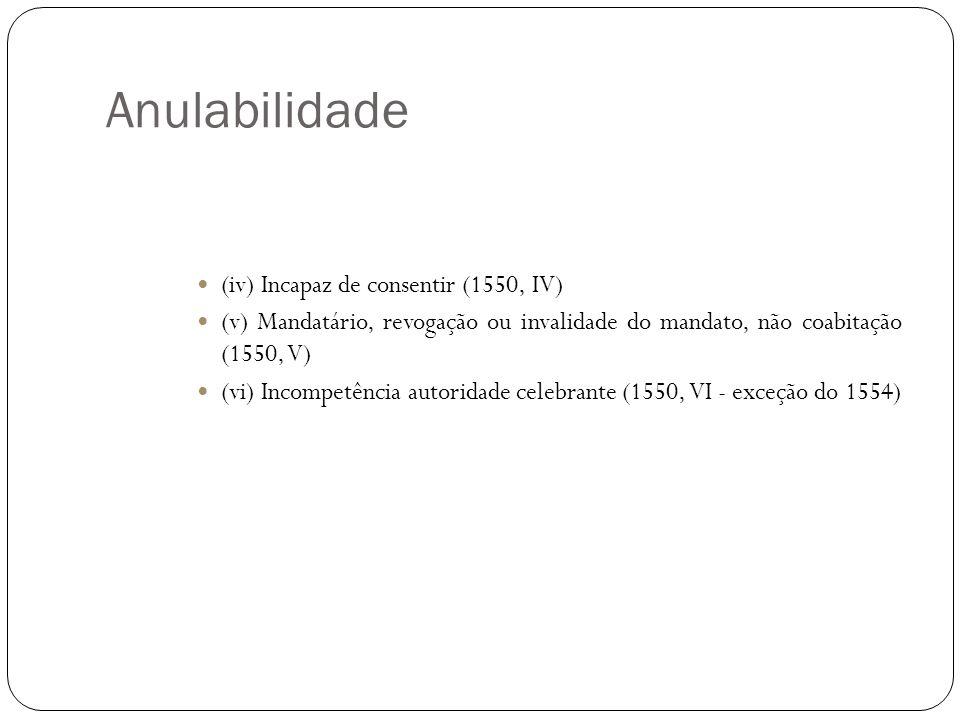 Anulabilidade (iv) Incapaz de consentir (1550, IV) (v) Mandatário, revogação ou invalidade do mandato, não coabitação (1550, V) (vi) Incompetência aut