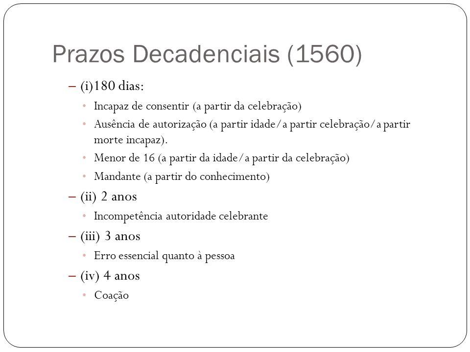 Prazos Decadenciais (1560) – (i)180 dias: Incapaz de consentir (a partir da celebração) Ausência de autorização (a partir idade/a partir celebração/a