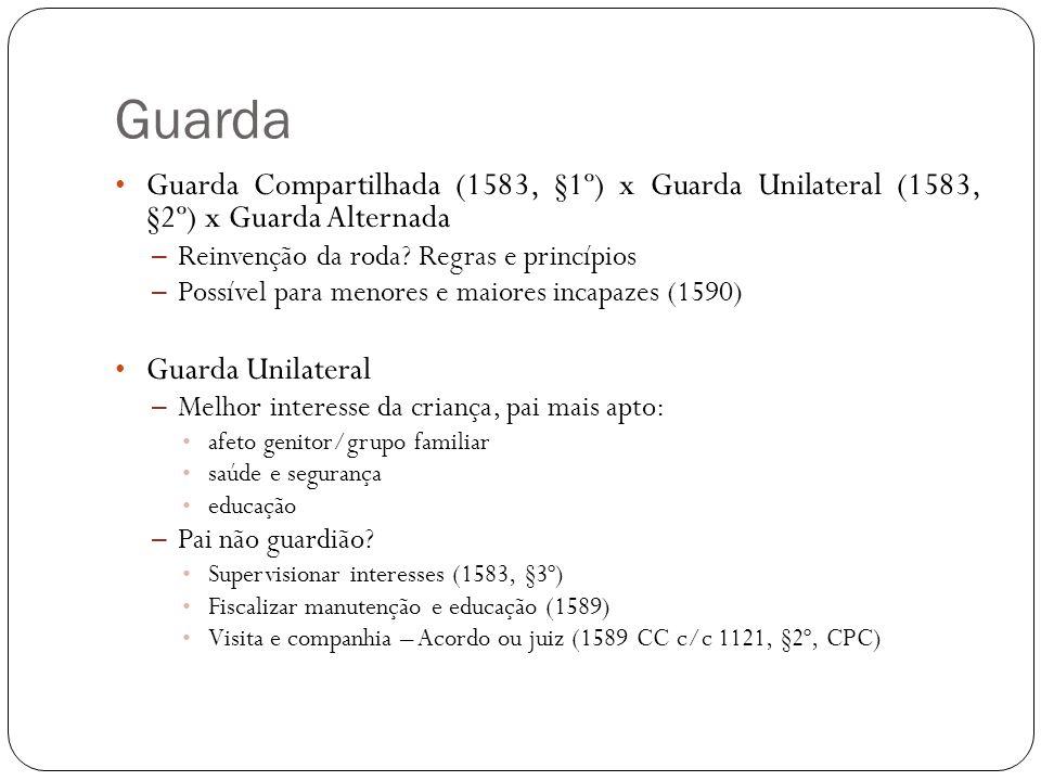Guarda Guarda Compartilhada (1583, §1º) x Guarda Unilateral (1583, §2º) x Guarda Alternada – Reinvenção da roda? Regras e princípios – Possível para m