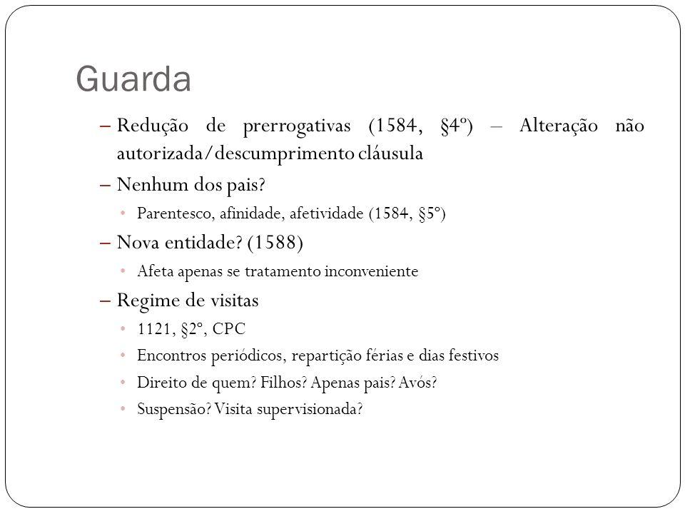 Guarda – Redução de prerrogativas (1584, §4º) – Alteração não autorizada/descumprimento cláusula – Nenhum dos pais? Parentesco, afinidade, afetividade