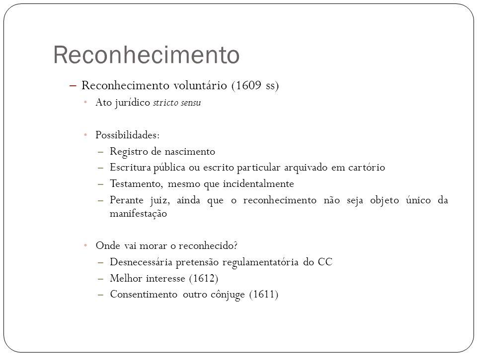 Reconhecimento – Reconhecimento voluntário (1609 ss) Ato jurídico stricto sensu Possibilidades: – Registro de nascimento – Escritura pública ou escrit