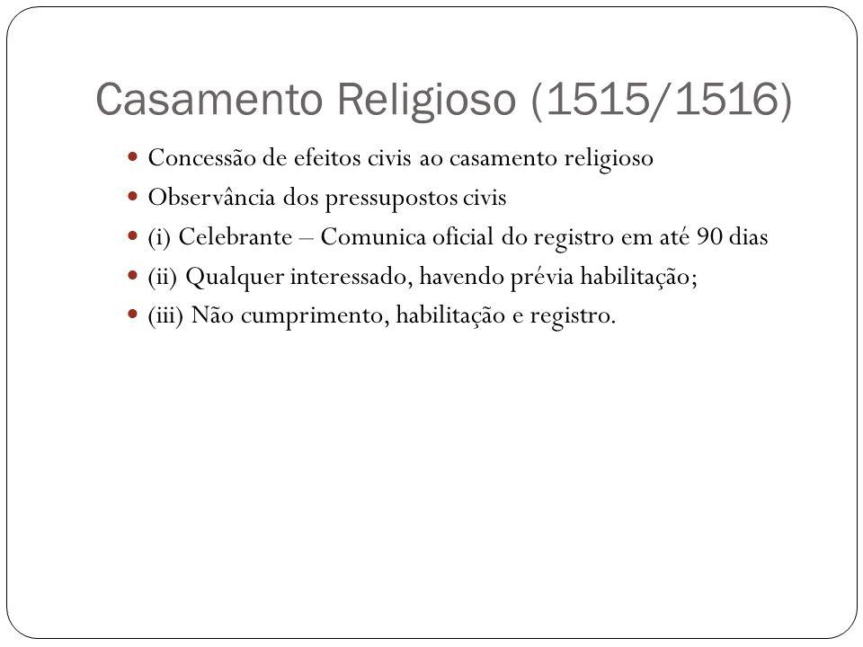Casamento Religioso (1515/1516) Concessão de efeitos civis ao casamento religioso Observância dos pressupostos civis (i) Celebrante – Comunica oficial