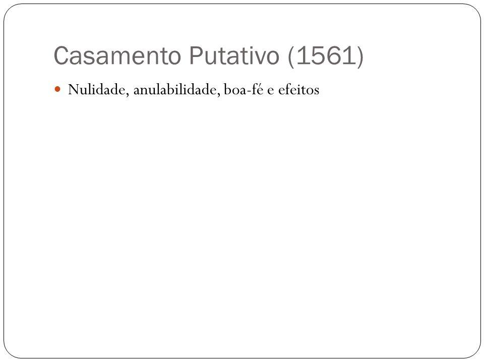 Casamento Putativo (1561) Nulidade, anulabilidade, boa-fé e efeitos