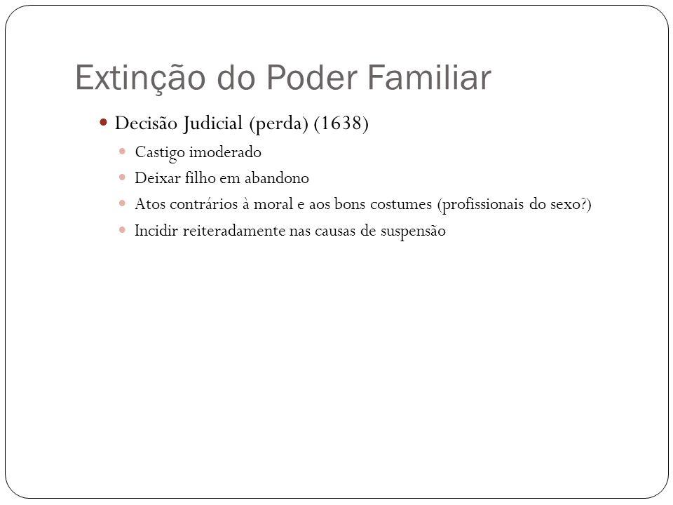 Extinção do Poder Familiar Decisão Judicial (perda) (1638) Castigo imoderado Deixar filho em abandono Atos contrários à moral e aos bons costumes (pro