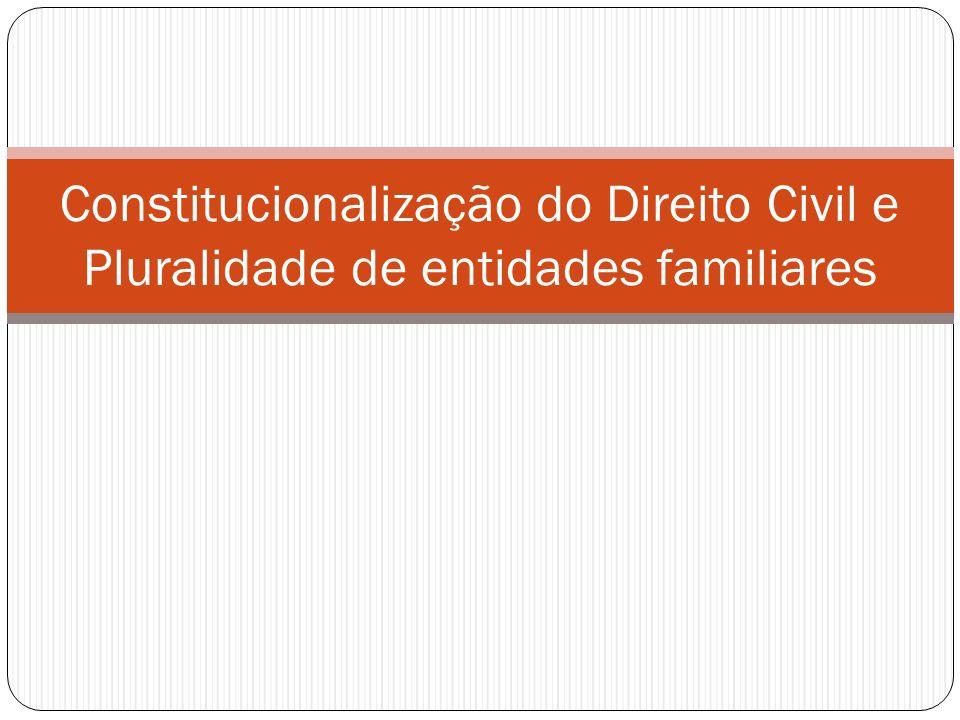 Constitucionalização do Direito Civil Constitucionalização x Publicização Repersonalização x Patrimonialismo Contrato, Propriedade, Família