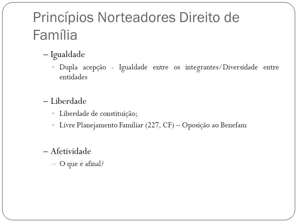 Princípios Norteadores Direito de Família – Igualdade Dupla acepção - Igualdade entre os integrantes/Diversidade entre entidades – Liberdade Liberdade