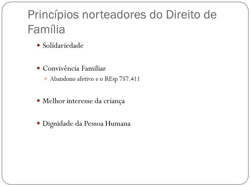 Princípios norteadores do Direito de Família Solidariedade Convivência Familiar Abandono afetivo e o REsp 757.411 Melhor interesse da criança Dignidad