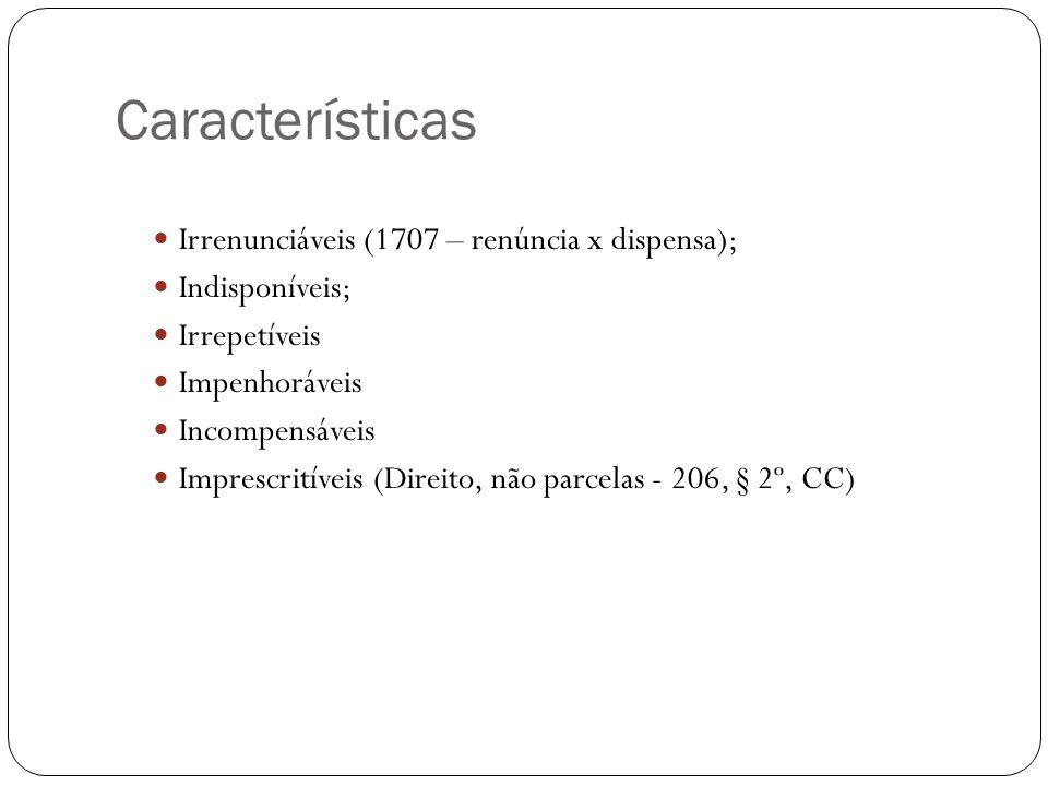 Características Irrenunciáveis (1707 – renúncia x dispensa); Indisponíveis; Irrepetíveis Impenhoráveis Incompensáveis Imprescritíveis (Direito, não pa