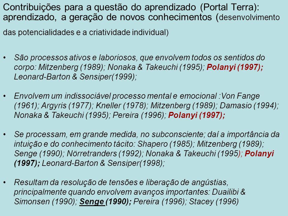 Dependem das experiências, tentativas e erros de cada indivíduo; é um processo social que depende da interação com outros; Hill in Sugo (1996); Dewey, Lewin e Piaget in Botelho (1997);Polanyi (1997); Leonard-Barton & Sensiper(1998); Incluem a capacidade de combinar diferentes inputs e perspectivas e compreender relações complexas, por meio de um permanente processo de reformulação dos modelos mentais e mapas cognitivos:Argyris (1977); Kneller (1978); Hill in Sugo (1996); Kolb (1997); Leonard- Barton & Sensiper(1998); Estão associados a mudanças de comportamento.