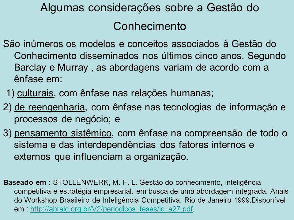 Algumas considerações sobre a Gestão do Conhecimento São inúmeros os modelos e conceitos associados à Gestão do Conhecimento disseminados nos últimos