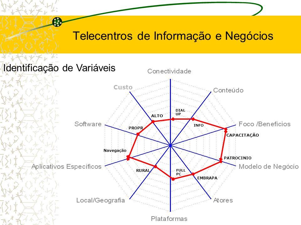 FULL PC Custo DIAL UP Navegação INFO RURAL PROPR ALTO PATROCINIO CAPACITAÇÃO EMBRAPA Identificação de Variáveis Telecentros de Informação e Negócios